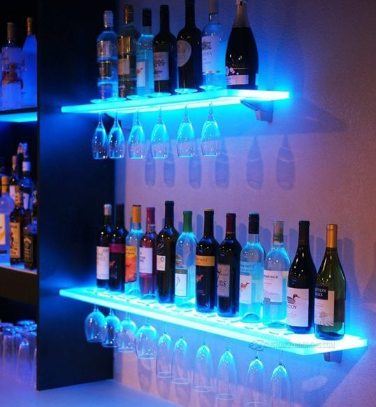 Hanging Liquor Cabinet LED lights